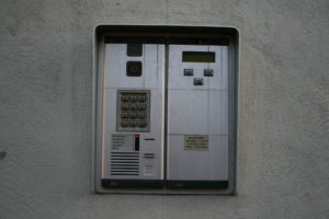 The intercom on Rose Street can be used to activate the garage door.